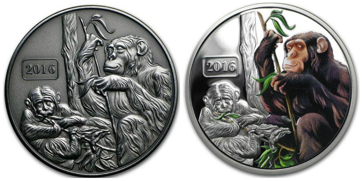 Монеты с обезьянами почта россии 140980
